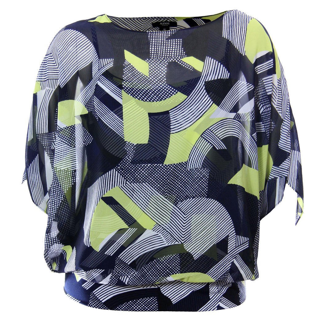 Alfani Multi Color Abstract Print 3/4 Sleeve Blouson Top Blouse