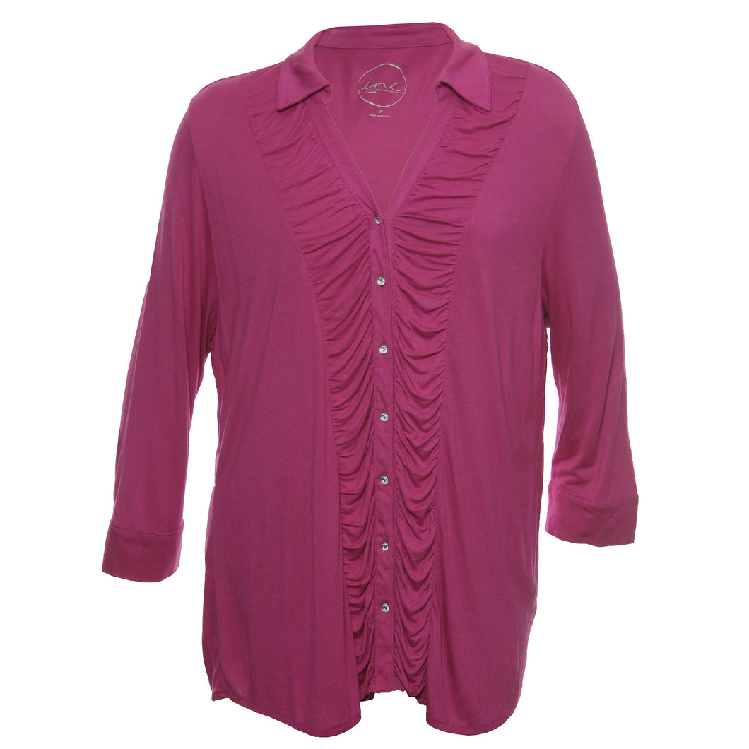 INC Pink Long Sleeve Ruched Button Down Shirt