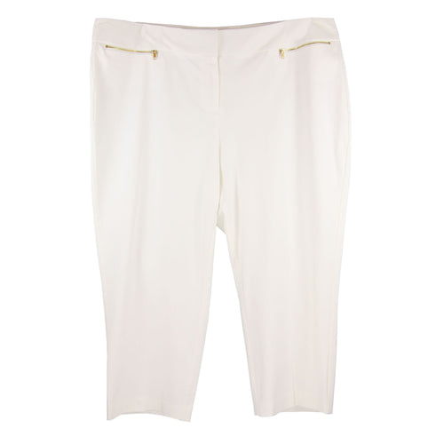 Alfani White Curvy Fit Zipper Detail Capris Casual Pants