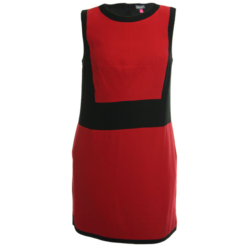Vince Camuto Red & Black Color Block Sleeveless Knit Dress