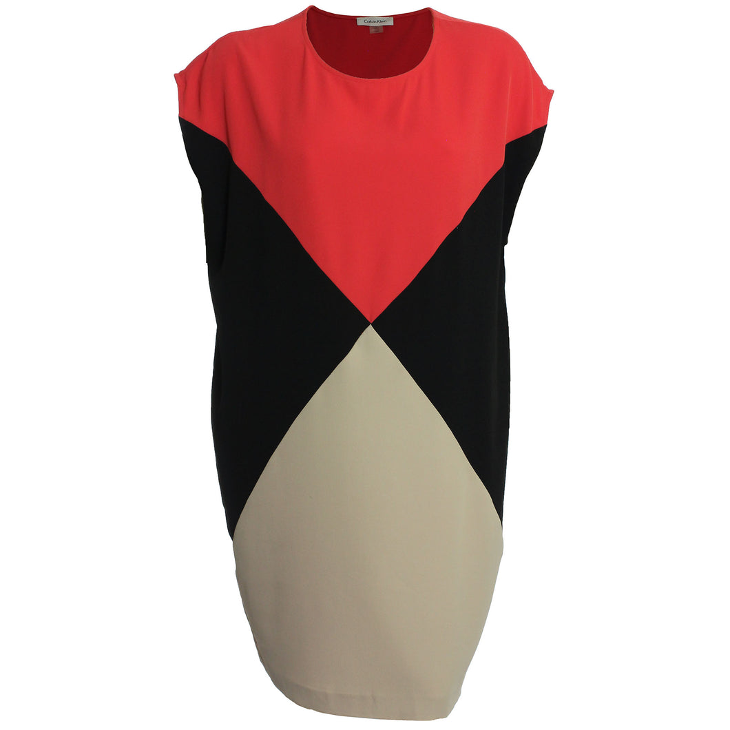 Calvin Klein Multi Color Block Cap Sleeve Shift Dress