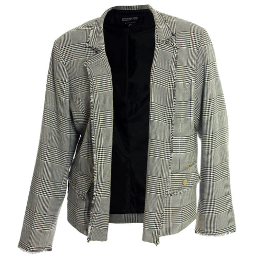 Jones New York Black & White Long Sleeve Fringe Trim Blazer Jacket