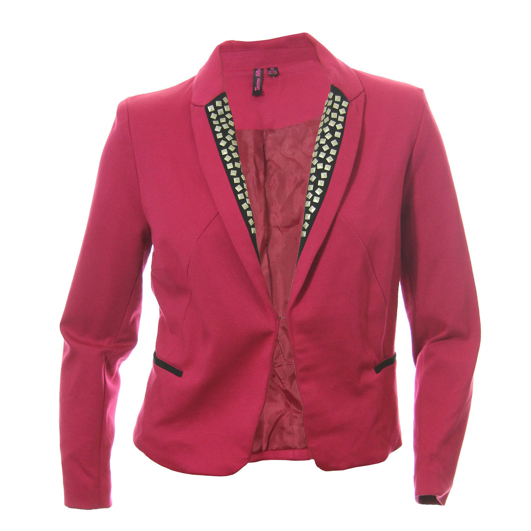 Tattoo Me Pink & Black Long Sleeve Studded Collar Jacket