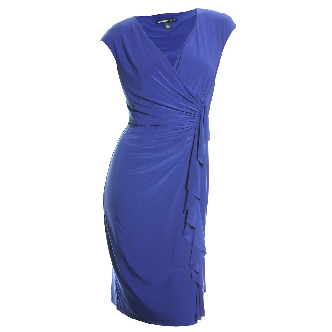 American Living Blue Cap Sleeve Ruched Drape Ruffle Dress