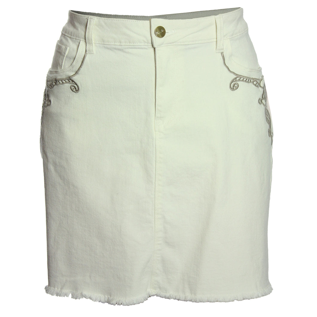 Nanette Lepore White Denim Embroidered A-Line Jean Skirt