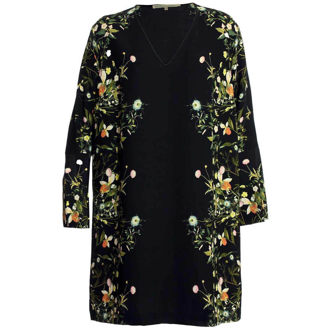 Rachel Roy Long Sleeve Floral Print V-Neck Shift Dress