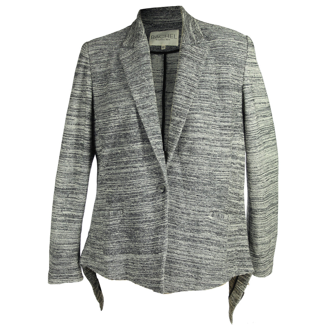 Rachel Roy Black Marled Long Sleeve Sharkbite Hem Blazer Jacket Plus Size