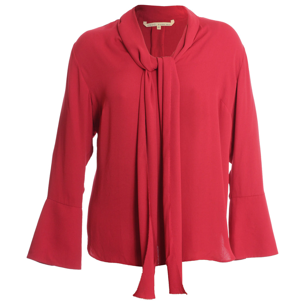 Rachel Roy Red Long Bell Sleeve Tie Front Blouse
