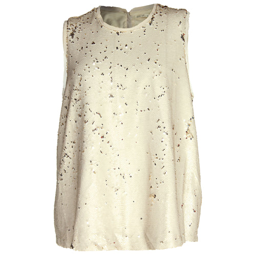 Rachel Roy Beige Sleeveless Sequined Swing Top