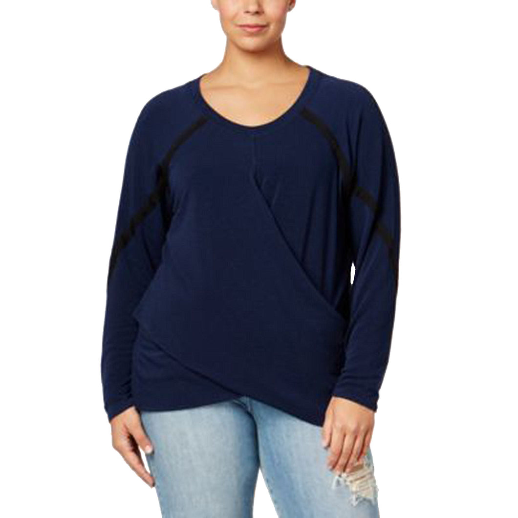 Rachel Roy Blue Long Sleeve Crossover Knit Top Plus Size