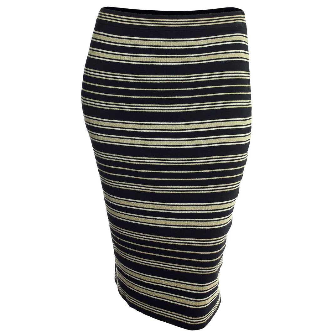 Rachel Roy Multi Color Striped Midi Pencil Sweater Skirt