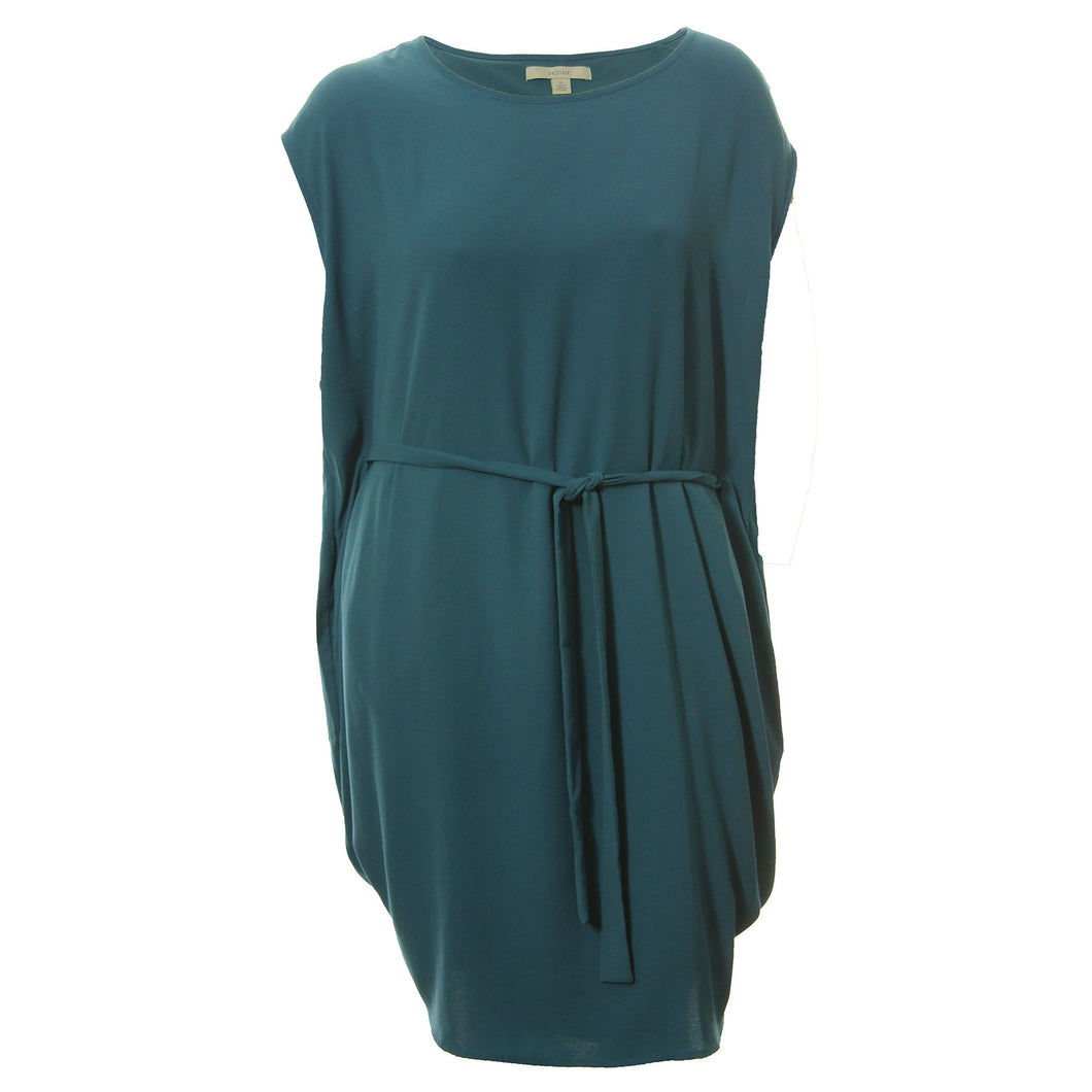 Sejour Teal Cap Sleeve Belted Drape Dress Plus Size