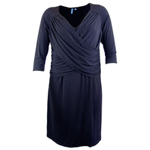 NY Collection Navy Blue or Black 3/4 Sleeve Cross Front Dress