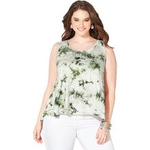 Avenue Pink or Green Tie Dye Sleeveless Embellished Swing Tank Top