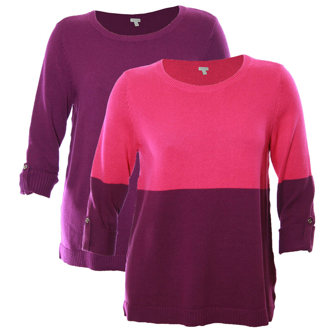 Charter Club Purple / Pink Long Convertible Sleeve Pull Over Sweater