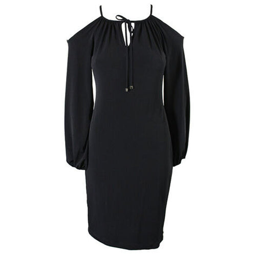 Calvin Klein Black Long Sleeve Cold Shoulder Knit Dress