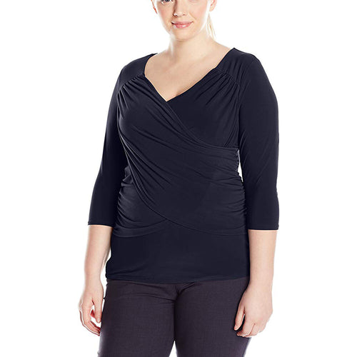 NY Collection Blue 3/4 Sleeve b-slim Top Plus Size