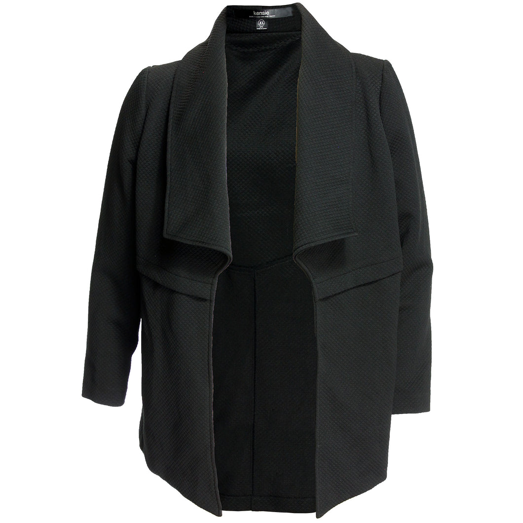 Kensie Black Long Sleeve Open Front Casual Jacket