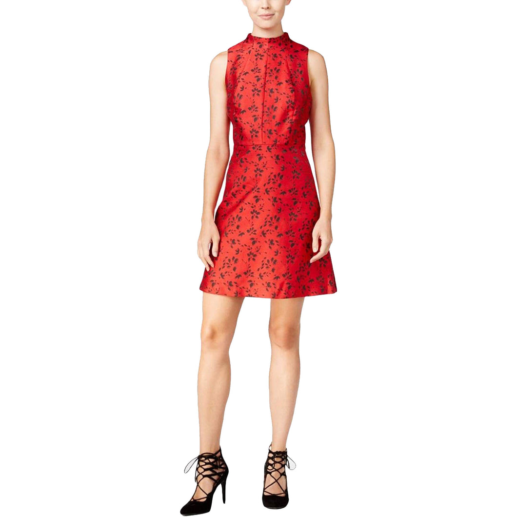 Kensie Red & Black Floral Print Sleeveless Brocade Dress