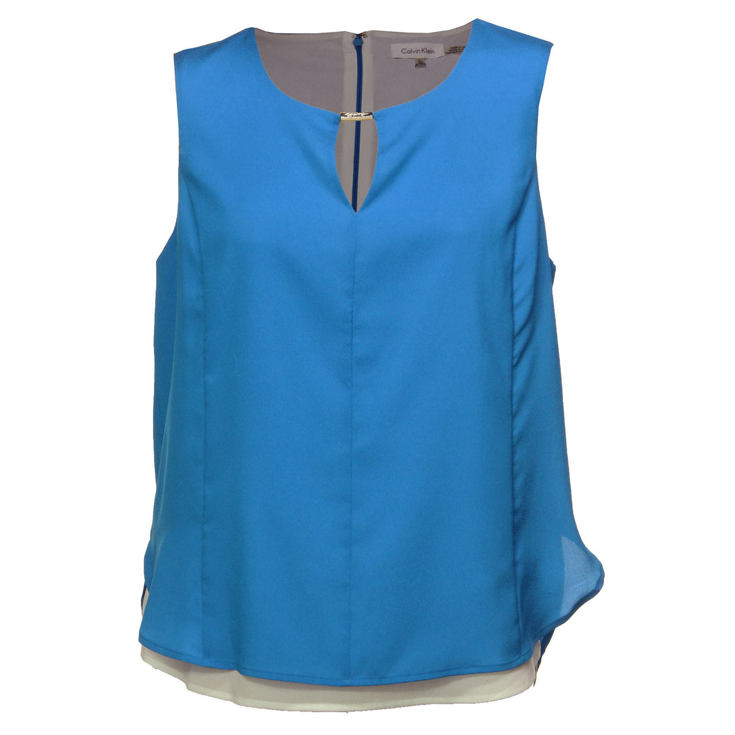 Calvin Klein Blue Sleeveless Double Layer Blouse Shirt Top