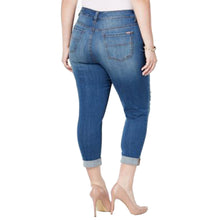 Melissa McCarthy Seven7 Blue Distressed Denim Cropped Girlfriend Jeans Plus Size