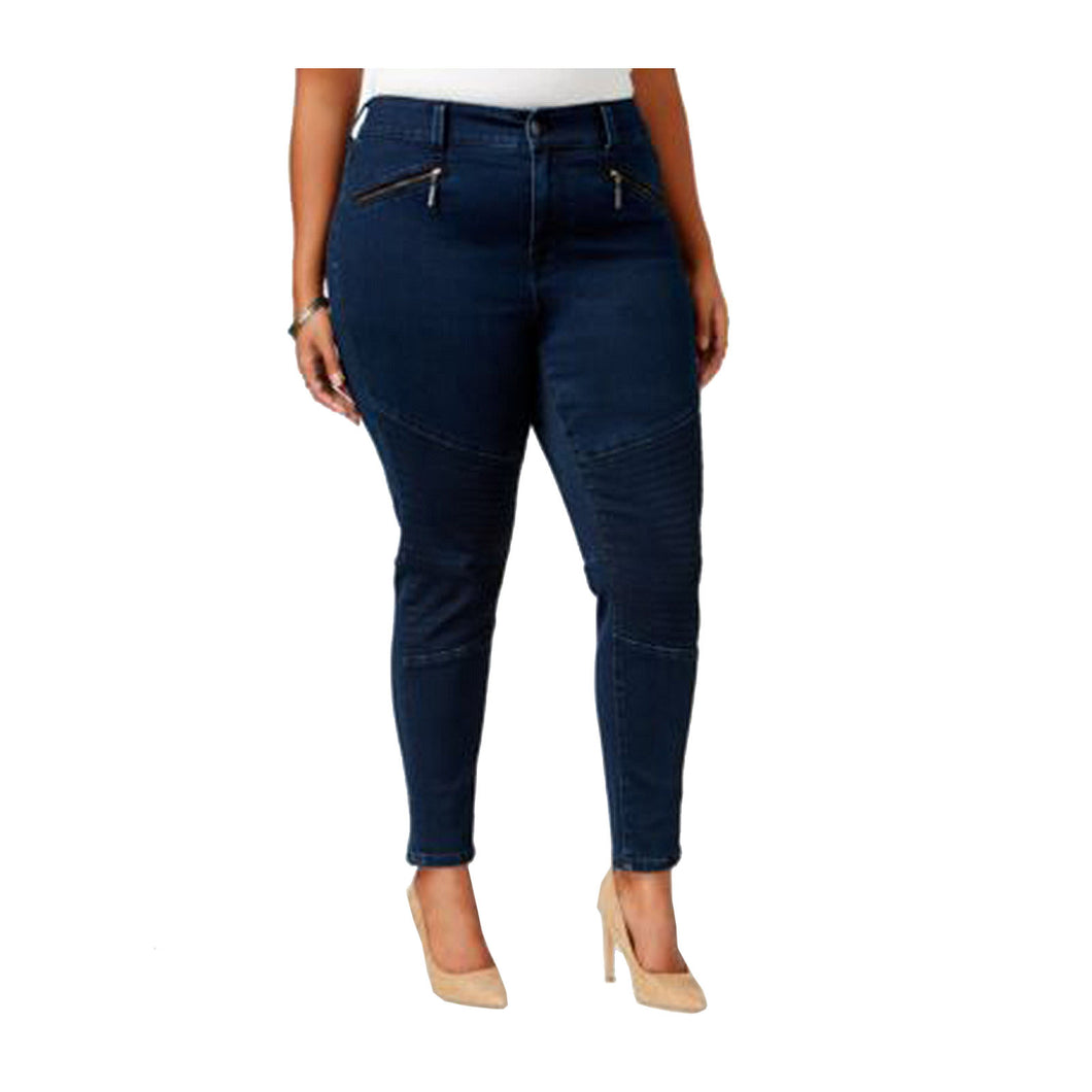 Melissa McCarthy Seven7 Blue Denim Embroidered Seamed Pencil Jeans Plus Size