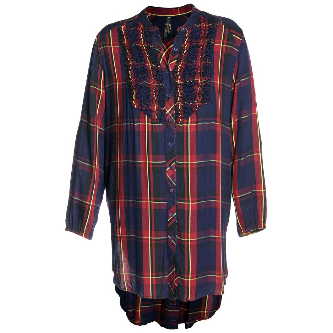 Seven7 Multi Color Plaid Long Sleeve High-Low Smocked Dress