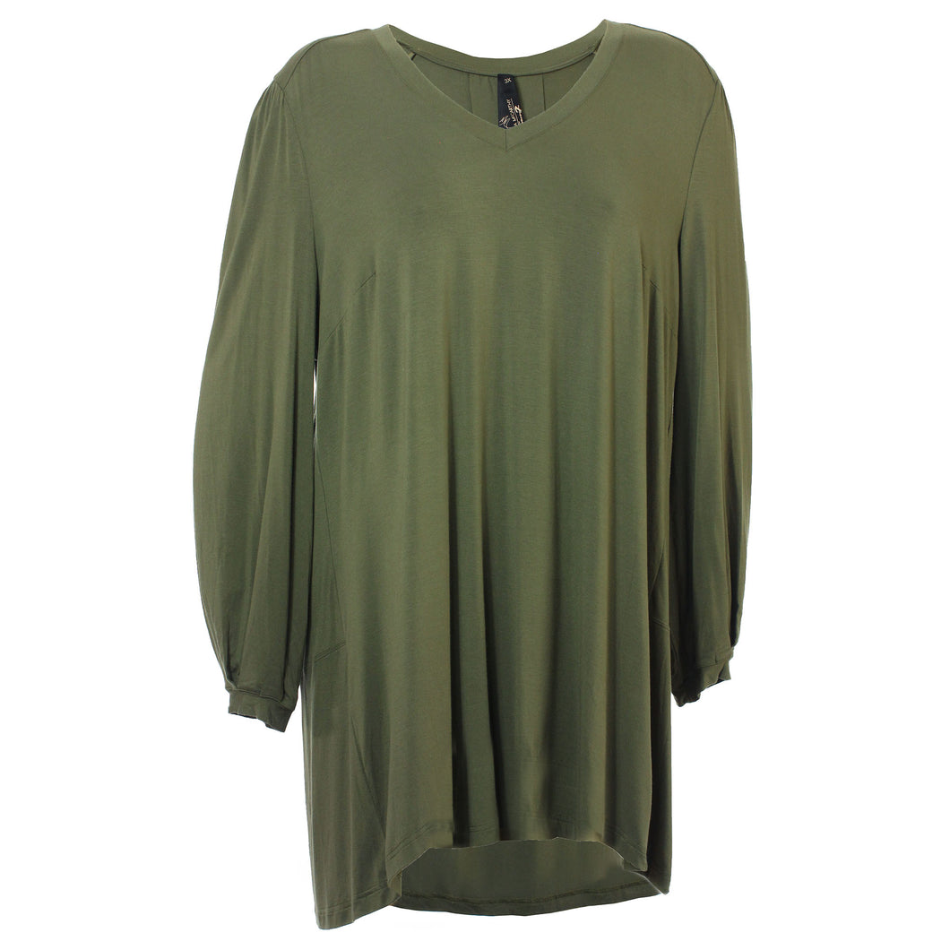 Seven7 Green Long Sleeve V-Neck High-Low Hem Knit Shirt