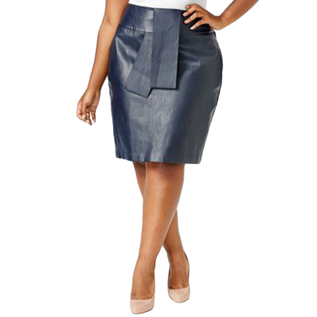 Melissa McCarthy Seven7 Blue Faux Leather Straight Skirt Plus Size