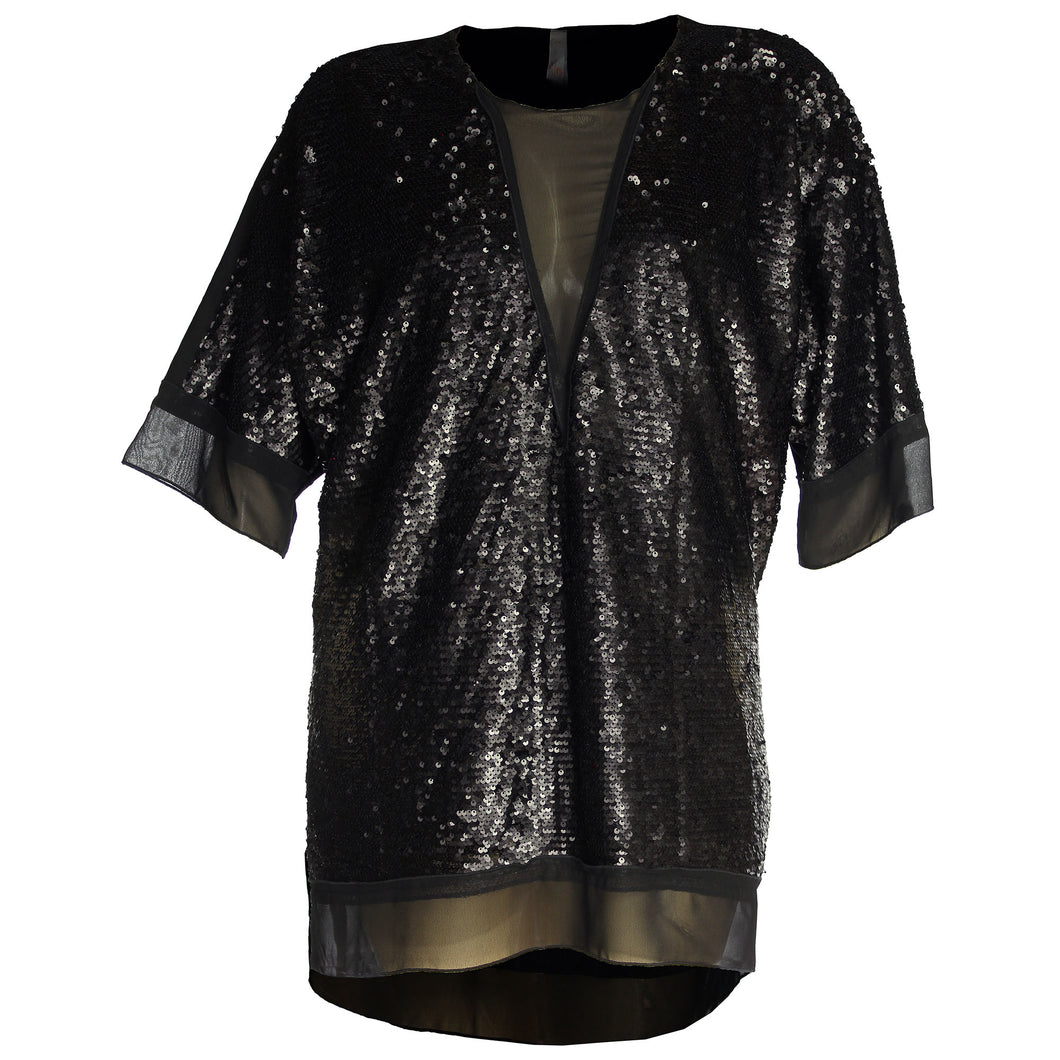 Melissa McCarthy Seven7 Black Short Sleeve Sequin High-Low Top