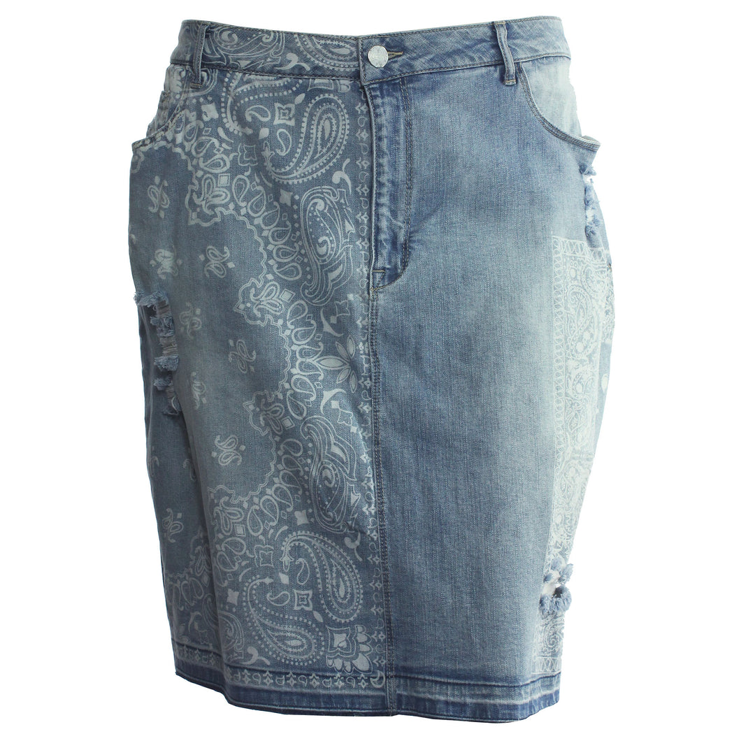 Nanette Lepore Blue Denim Printed Distressed Jean Skirt