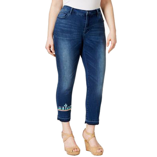 Nanette Lepore Blue Denim Embellished Cropped Skinny Jeans Plus Size