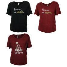 NY Collection Black or Burgundy Short Sleeve Holiday Graphic Tees