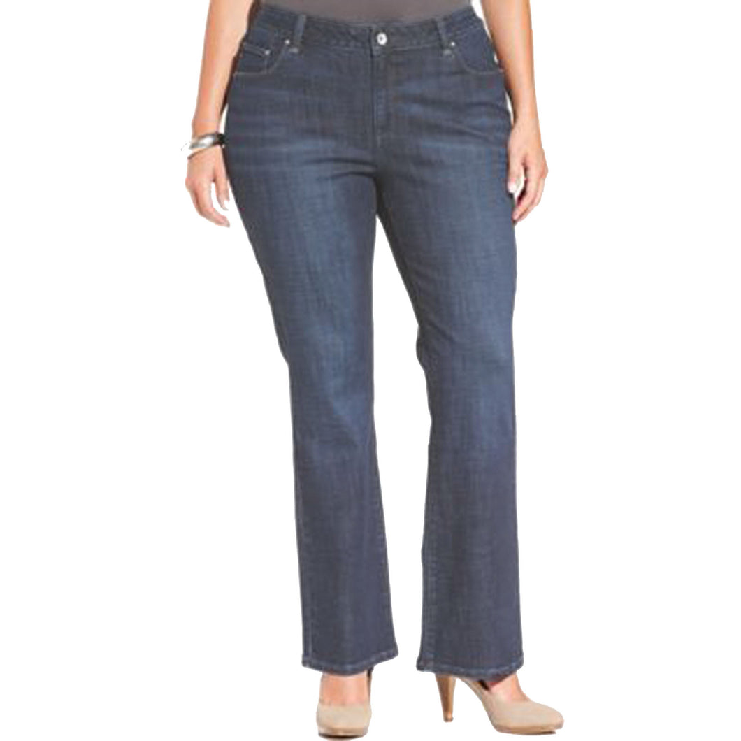 Lee Blue Stretch Denim Curvy Fit Boot Cut Jeans Plus Size Petite