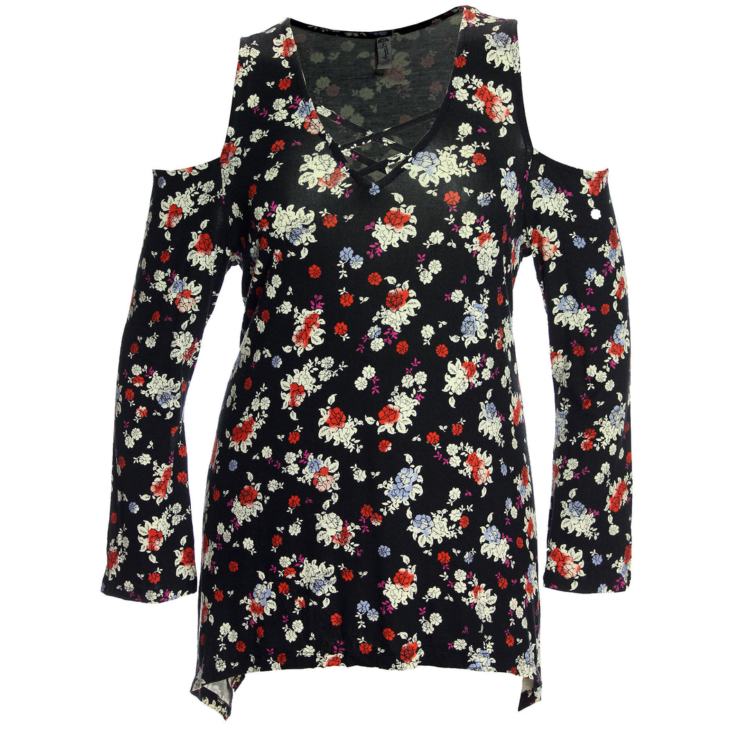 American Rag Multi Color Floral Long Sleeve Cold Shoulder Shirt
