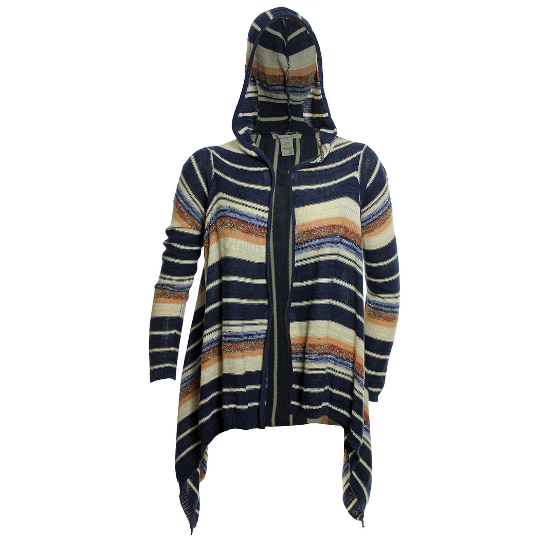 American Rag Multi Color Striped Long Sleeve Hooded Shark Bite Cardigan Sweater