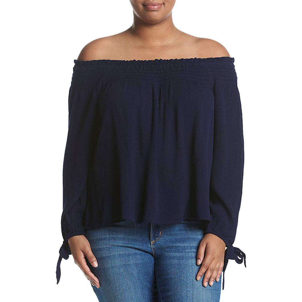 American Rag Blue Long Tied Sleeve Off the Shoulder Peasant Top Plus Size