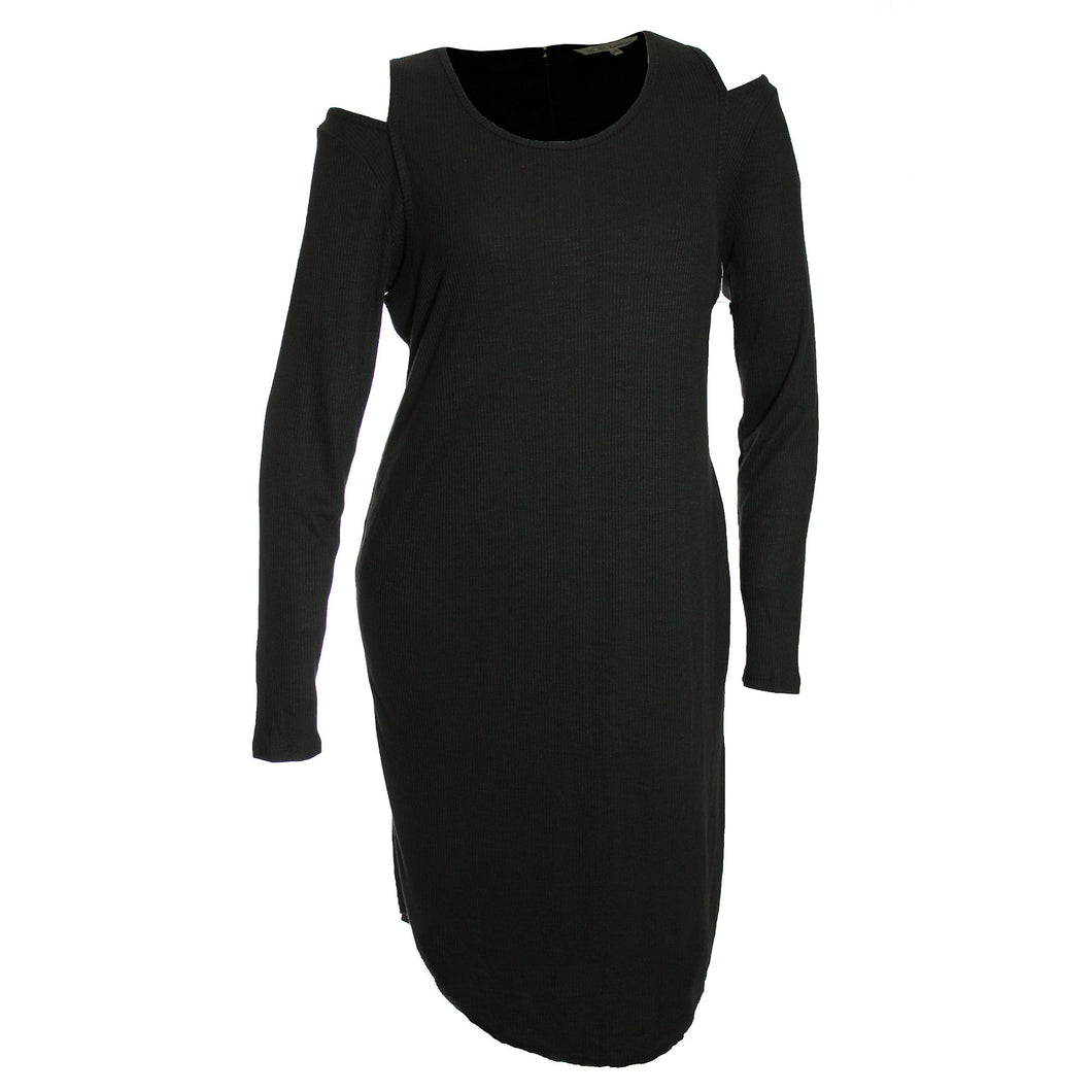 Rachel Roy Black Long Sleeve Cold Shoulder Ribbed-Knit Dress