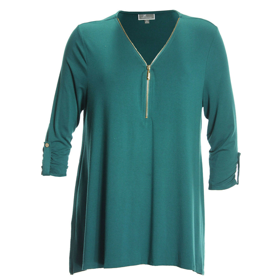 JM Collection Red or Teal 3/4 Sleeve Front Zip V-Neck Top