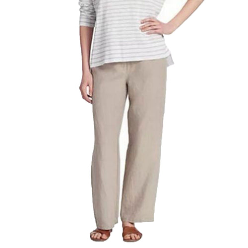 Eileen Fisher Tan Straight Leg Organic Linen Pants