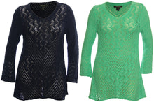Style & Co Long Sleeve V-Neck Open Weave Pointelle Sweater