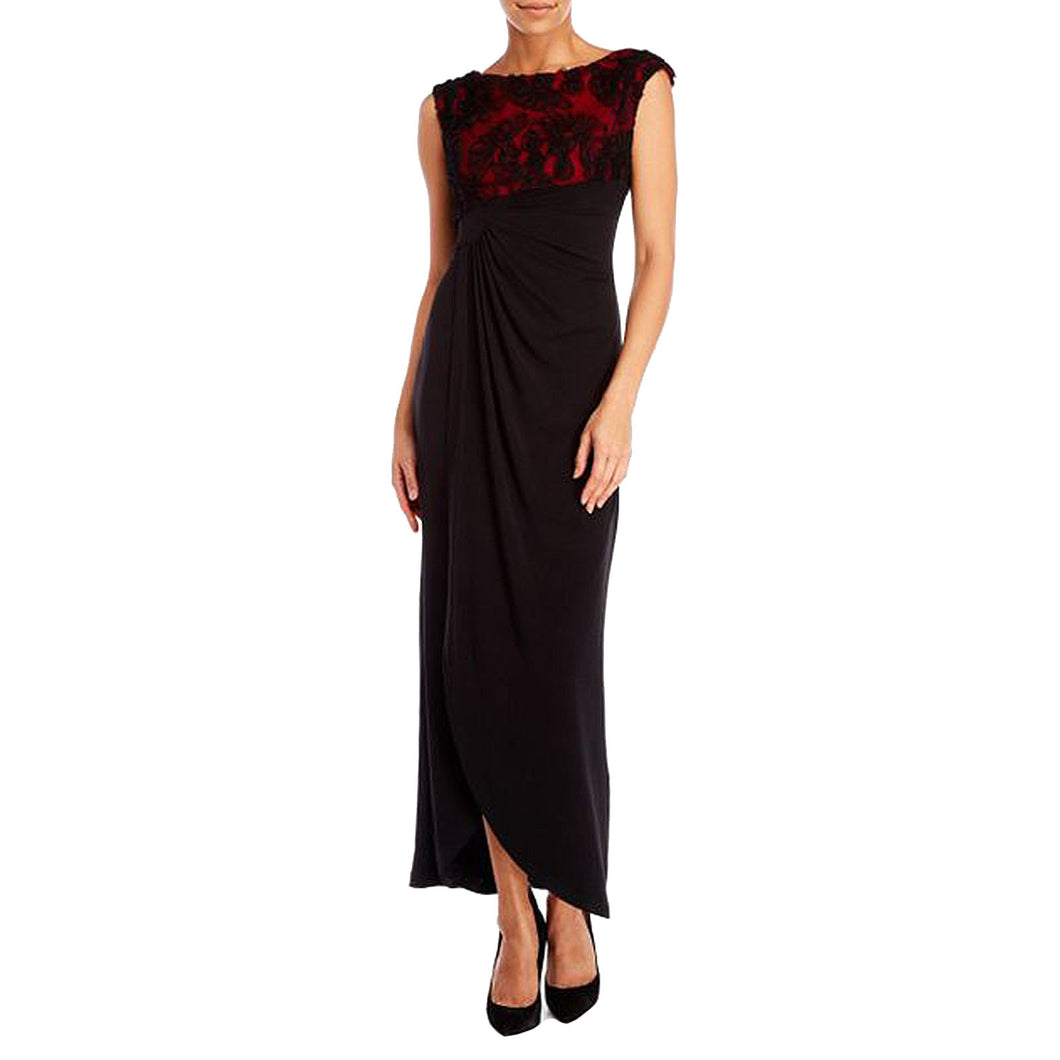 Connected Black / Red Soutache Lace Sleeveless Full Length Cocktail Dress
