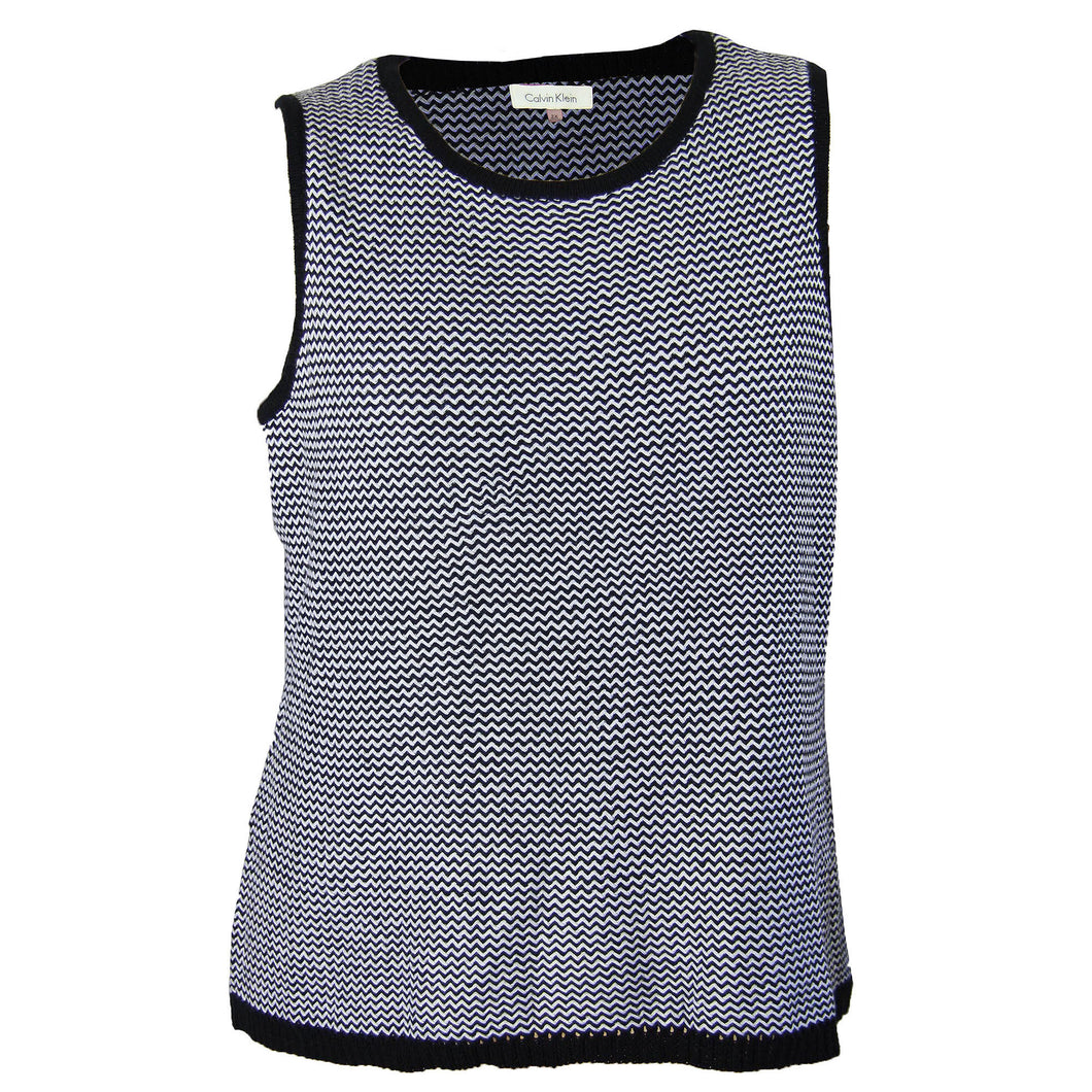 Calvin Klein Black & White Zig Zag Sleeveless Sweater Knit Top