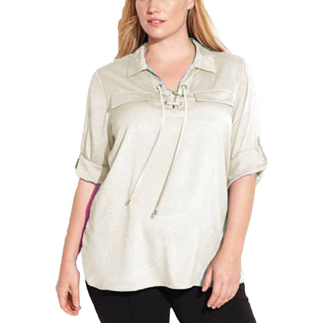 Calvin Klein White Lace-Up Front Roll Tab Sleeve Blouse Plus Size