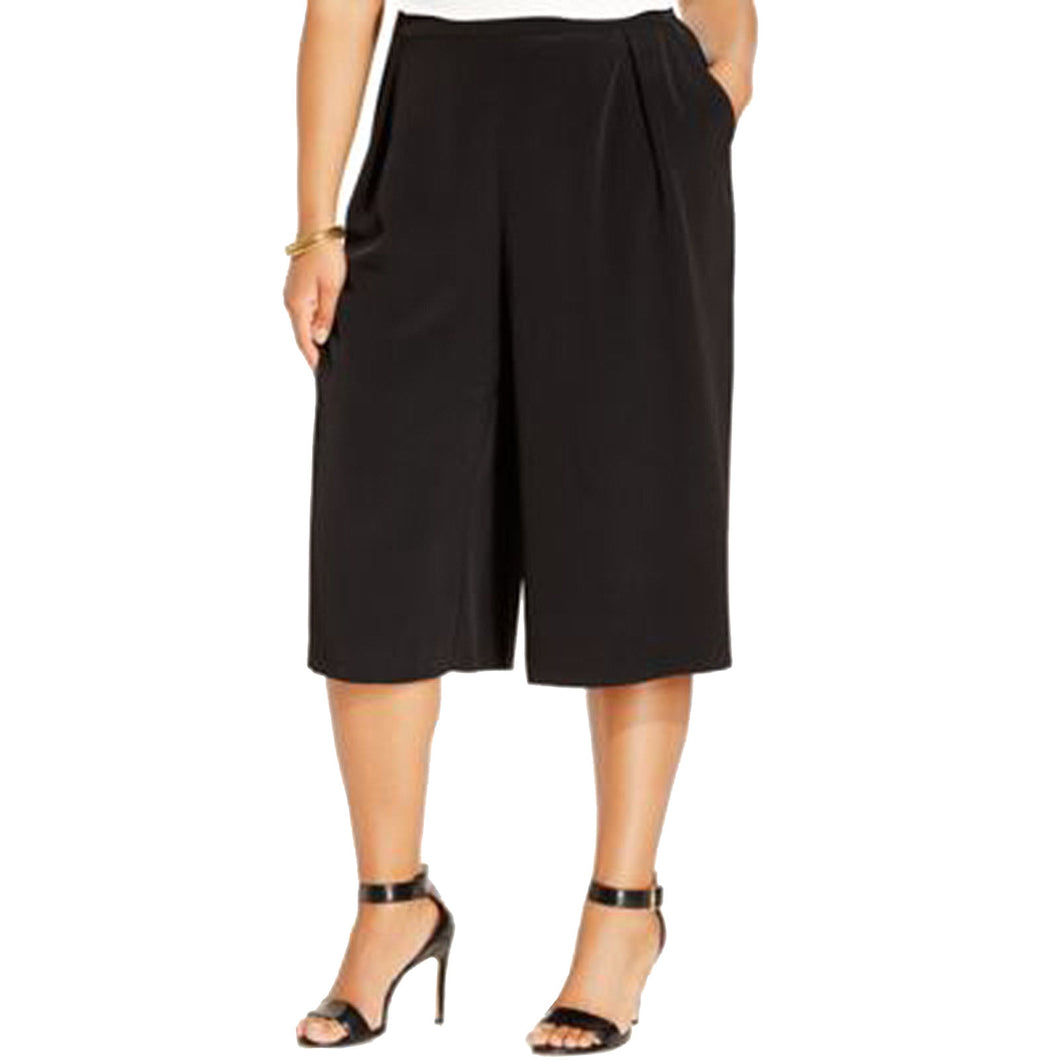 Calvin Klein Black Side Zip Gaucho Pants Plus Size