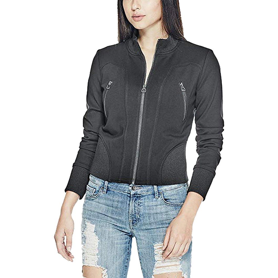 Guess Black Long Sleeve Zipper Detail Avalene Jacket
