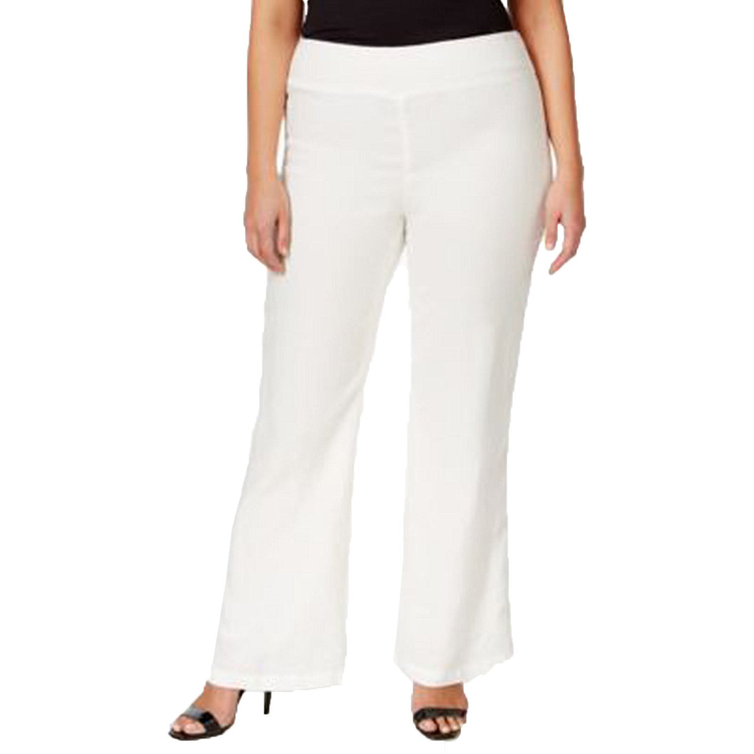 Calvin Klein White Pull-on Wide Leg Linen Pants Plus Size