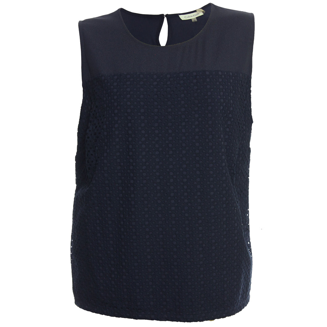 Calvin Klein Blue Sleeveless Eyelet Knit Top