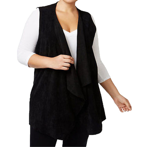Calvin Klein Black Sleeveless Faux Suede & Knit Vest Plus Size