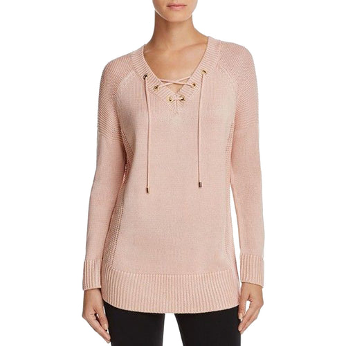 Calvin Klein Pink Long Sleeve Grommet Lace-Up Mixed Knit Sweater Plus Size